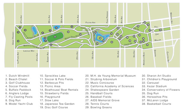 Golden Gate Park Map – San Francisco Tourist Map Pdf